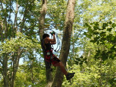 Zip lining through the trees at The Adventure Park at Storrs, CT. (photo: Anthony Wellman)