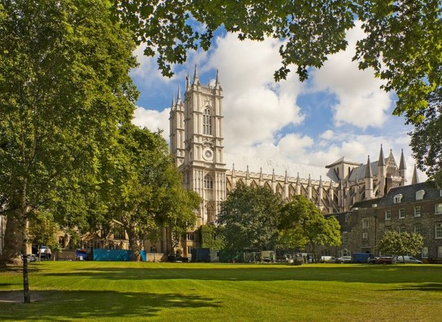 View of Westminster Abby from the inner courtyard in August 23, 2012