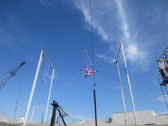 Kathy Gruver takes flying trapeze classes on the Santa Monica Pier.