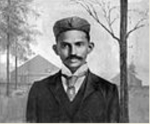 Gandhi shortly after arriving in South-Africa in 1895