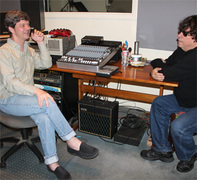 Harvey Kubernik interviewing Adam Pike at the studio, May 2014 - Photo by Judy Pike