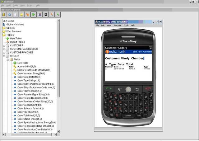 JadBlack: customer orders stored in Perst Lite and displayed in the BlackBerry simulator.