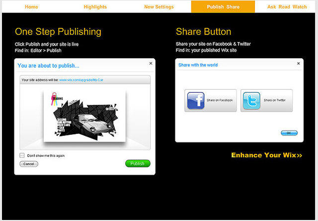 1-Step Publishing with Website Builder Wix