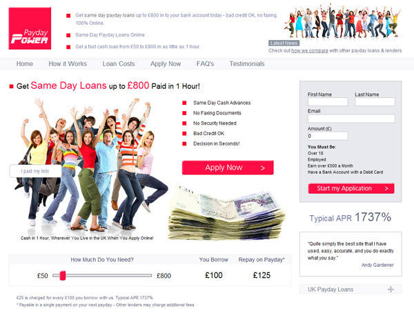 Payday Power Homepage - 1 Hour Payday Loans