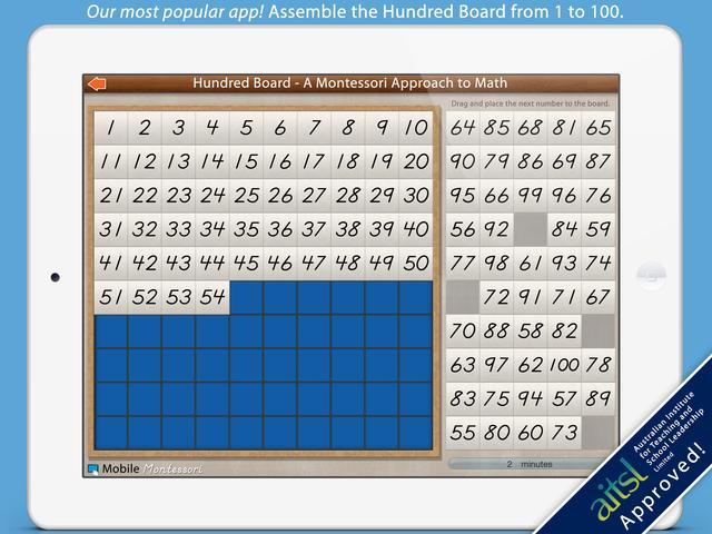 The Hundred Board iPad app by Mobile Montessori