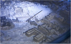 Terrain Map of UMBC Campus is 4000 times smaller than the original. 3D printing done by Potomac Photonics.