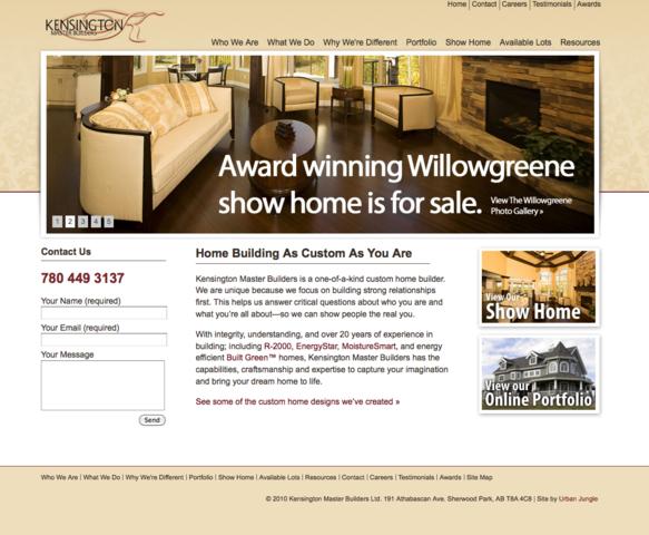 Website of Kensington Master Builders, an Edmonton Custom Home Builder.