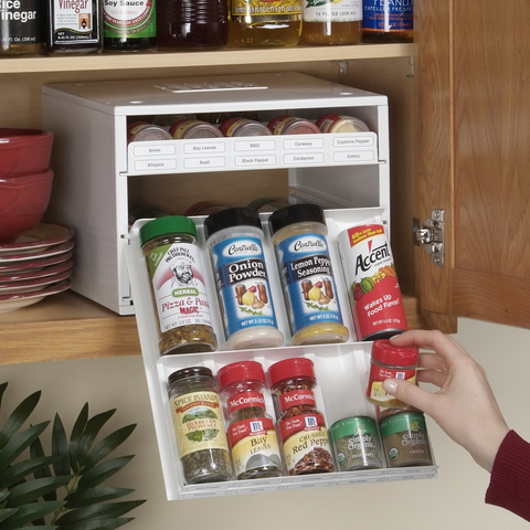 Super SpiceStack organizes 27 spice bottles in 11 inches of cabinet space making it a snap for home cooks to find and use their store-bought spices.