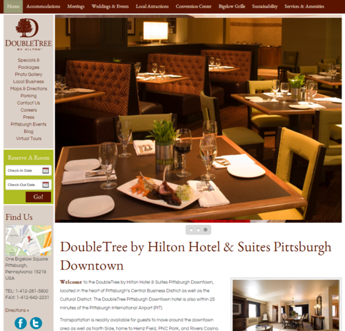 DoubleTree by Hilton Hotel & Suites Pittsburgh Downtown Aims to Enhance Customer Experience with their new web design.