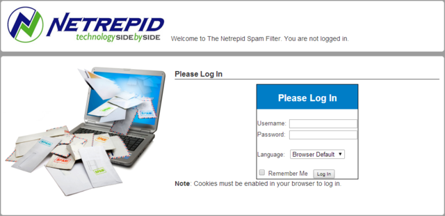 Login screen for recipients of messages from Netrepid's secure email service.
