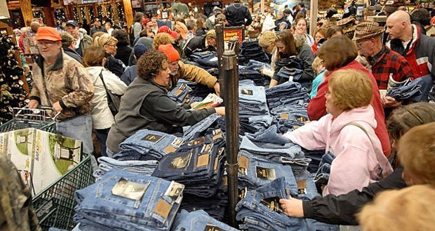 A Black Friday shopping crowd