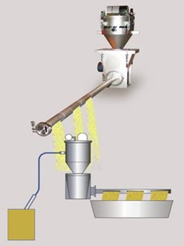 The VAC-U-MAX distribution screw facilitates even distribution of materials across dry material dispensing machines.