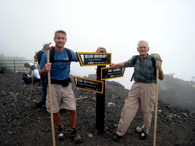 Wheeler and son on Mt. Fuji