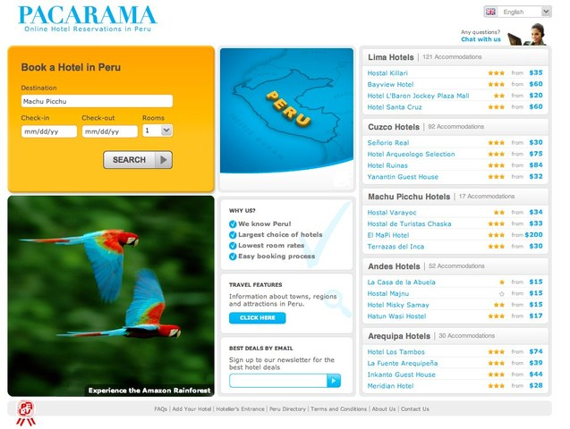Pacarama, Online Hotel Reservations in Peru