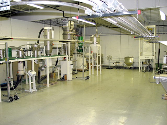VAC-U-MAX pneumatic conveyor system and industrial vacuum cleaner test and demonstration facility.