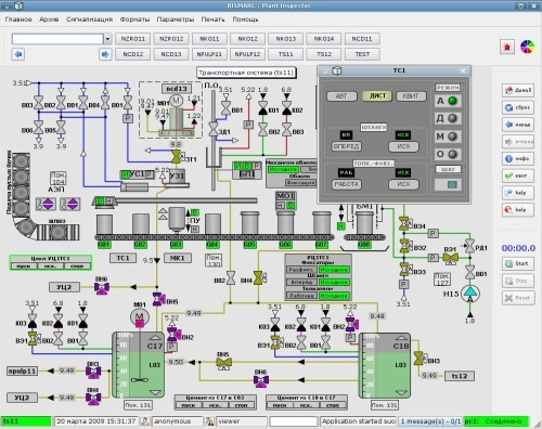 Operator Interface for the transportation subsystem of the Radioactive Waste Treatment Facility at Smolensk Nuclear Power Plant. Data is drawn from the eXtremeDB in-memory database.