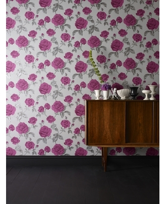 Countess: Plum/Charcoal Wallpaper