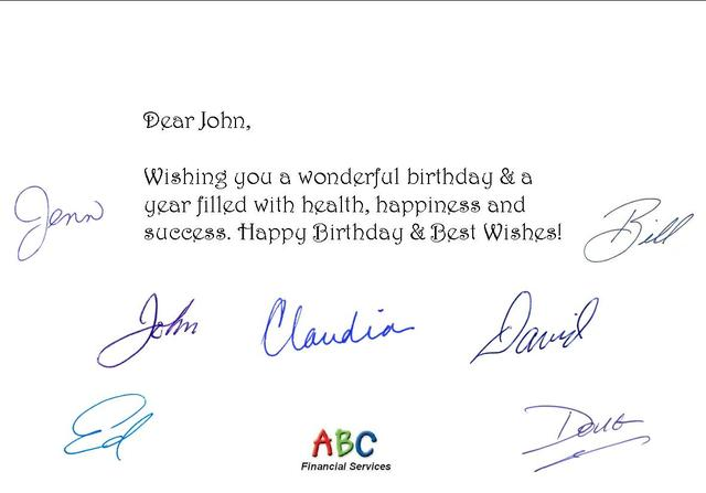 Sample Birthday Card with 7 signatures and 1 logo