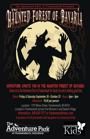 The Haunted Forest of Bavaria is a special event for Friday and Saturday nights in September and October at The Adventure Park at Frankenmuth.