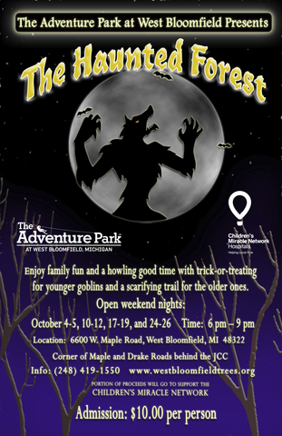 Frightful family fun ahead on weekend nights as The Adventure Park at West Bloomfield presents: THE HAUNTED FOREST.