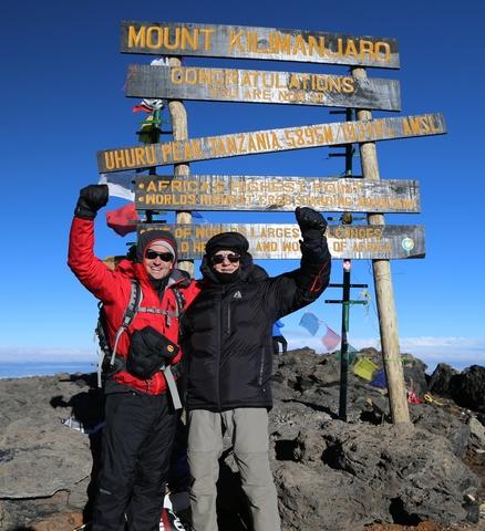 Jack and Robert Wheeler celebrating Robert Wheeler's world record attempt at the top of Mt. Kilimanjaro