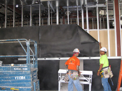 Acoustiblok noise barrier material is installed in the BIA-Hawaii's Construction Training Center