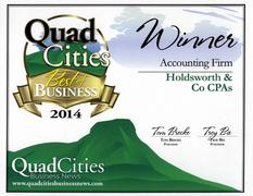 Quad City Business News 2014 Award - Best Accounting: Holdsworth & Co., CPA's