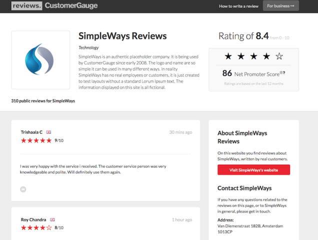Main screen of review site