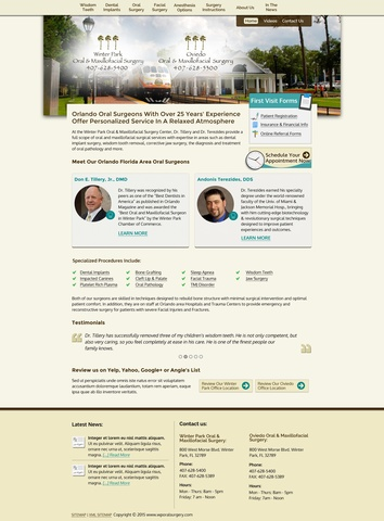 The redesigned home page of Winter Park Oral Surgery.