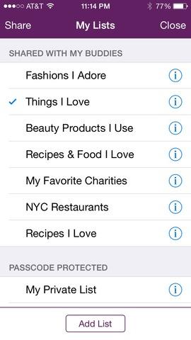 A user's Faves List