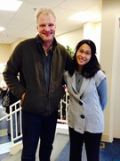 Russell Gay, Vacuum Authority owner, with Jocelyn Fetalver, Family Services Coordinator at the Family Scholar House