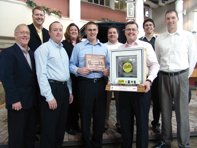The Nussbaum team accepts Pella Corporation Carrier of the Year Award