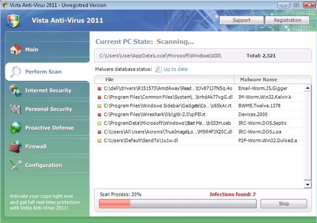 See Vista Anti-Virus 2011 (Fake Security Program) Run a System Scan