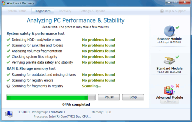 Windows 7 Recovery is not a Windows Tool. View Windows 7 Recovery Screenshot