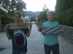 Jake Paul (left) and Mason Bloomfield (right) completed their skateboard builds under a Varsity Boy Scouting program in Calif.