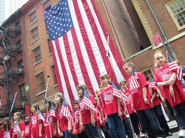 School children performing at the 2010 New York City Flag Day Parade ceremonies in front of Fraunces Tavern