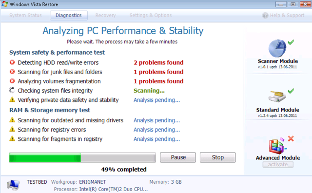 Windows Vista Restore deceive PC users by issuing bogus warning messages