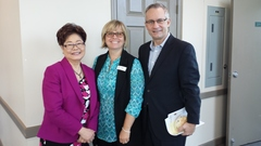 L to R: Minister Alice Wong, MP, Minister of State (Seniors); Sharon Simpson, Director of Communications and Marketing, Menno Place; Minister Ed Fast, MP