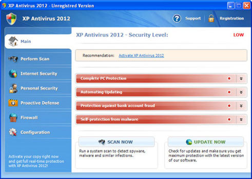 Take a look at XP Antivirus 2012's unregistered version