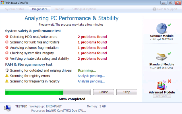 Windows XP Fix, Windows Vista Fix, and Windows 7 Fix are identical fake PC optimization tools