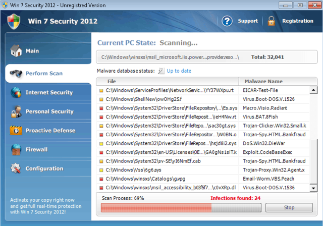 Take a look at Win 7 Security 2012's bogus system scan