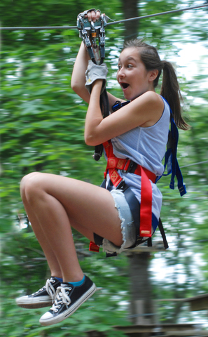 Excitement, thrills and challenge await climbers at The Adventure Park at The Discovery Museum this season. Zip lines are just part of the fun. (Photo: Outdoor Ventures)