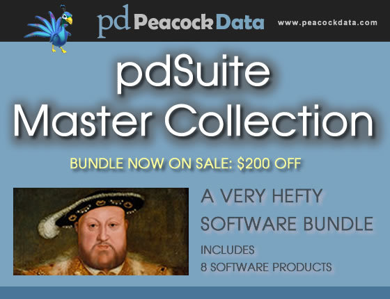 Peacock Data's newly expanded pdSuite Master Collection software bundle offers eight highly regarded software packages at more than 70 percent off list prices.