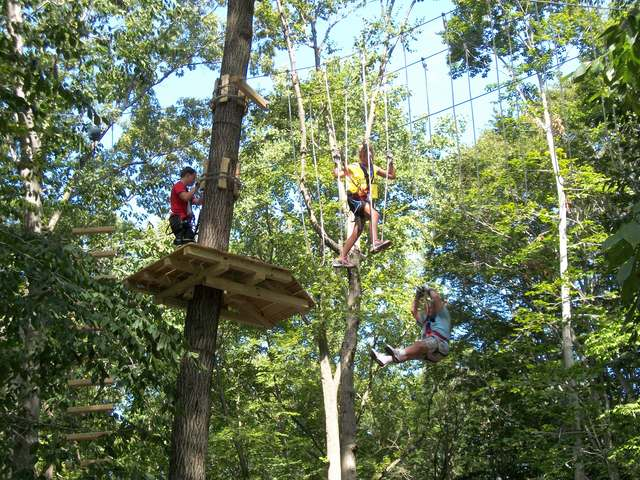Carefully maintained trees and forests make zip lines and challenge bridges possible at The Adventure Parks of Outdoor Ventures. (Photo by Anthony Wellman, Outdoor Ventures)