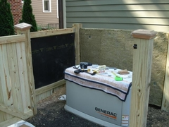 The homeowner first lined the generator enclosure's interior  with Acoustiblok noise blocking material.