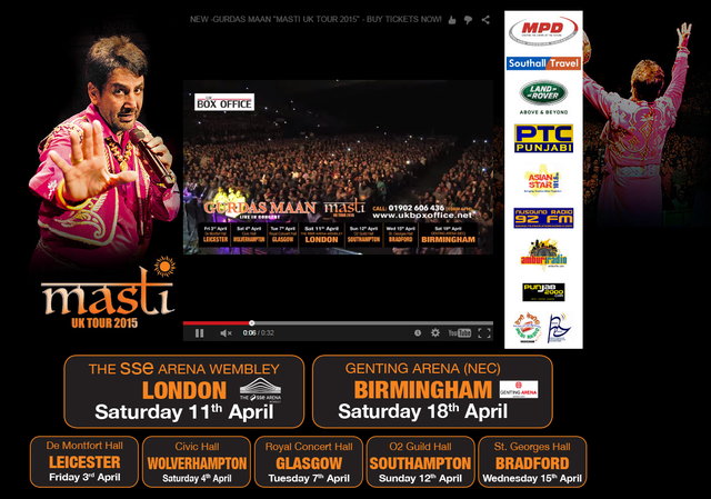 Southall Travel Sponsors Gurdas Maans 2015 Concert Tour to the UK
