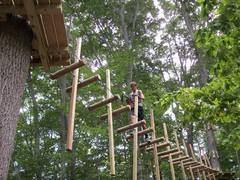 A climb at The Adventure Park combines zip lines with challenge bridges between tree platforms such as this. (Photo: Anthony Wellman, Outdoor Ventures)