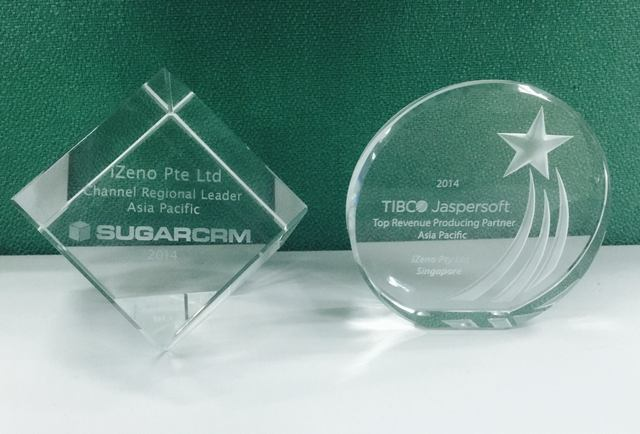 iZeno recognized by SugarCRM and Tibco Jaspersoft for partnership 2014.