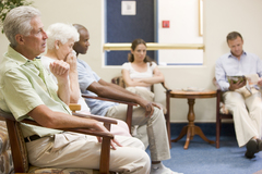 Frustrated, bored patients waiting for healthcare appointment