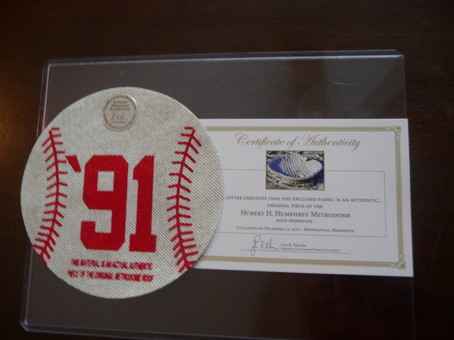20th Anniversary baseball made out of the Metrodome roof to honor 1991 Minnesota Twins World Champions